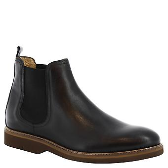 Leonardo Shoes Man's handmade chelsea boots in black leather