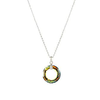 Eternal Collection Halo Green Sahara Austrian Round Crystal Sterling Silver Pendant