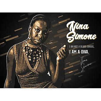 Nina Simone Poster I Am A Diva Music Quote Wall Art Print (24x18)