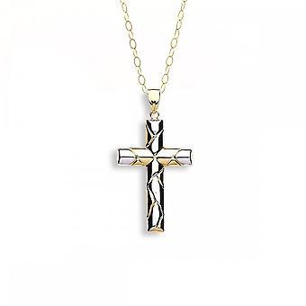 Eternity 9ct 2 väri kulta fancy Cross riipus ja 16 ' ' Chain