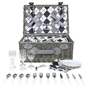 Charles Bentley Grey Wicker picknickmand belemmeren set voor 4 persoon-geruite voering