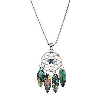 Eternal Collection Dreamcatcher Paua Shell Silver Tone Pendant Necklace