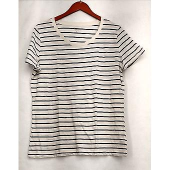 Mossimo Supply Co. XXL Striped Short Sleeve Tee White / Black Top Womens #4