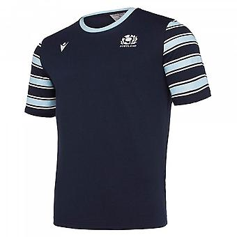 2019-2020 Skottland macron Rugby fritid Polycotton T-shirt (Marinblå)