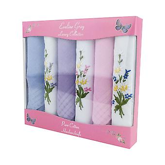 6 Pack Women's/Ladies Dyed & Embroidered Handkerchiefs With Stripe Satin Borders, 100% Cotton