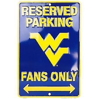 """West Virginia Mountaineers NCAA """"Fans Only"""" Señal de estacionamiento reservado"""
