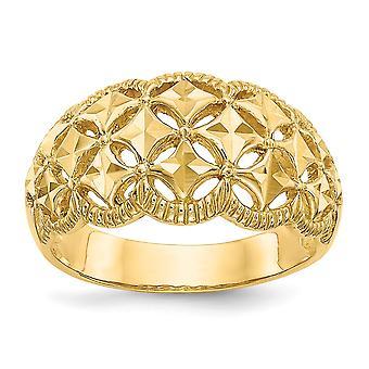 14k Ouro Amarelo Sólido Textura d' Poluina De volta Brilho Cortado Scalloped Edge Padrão Dome Ring Joias para Mulheres