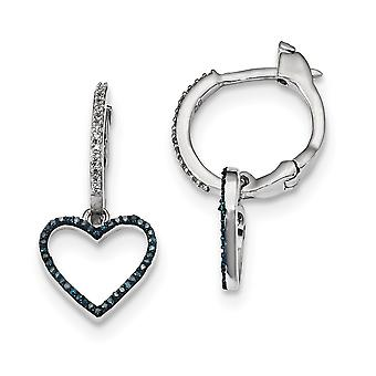 925 Sterling Silver Bungelen Gift Boxed Rhodium verguld blauw en wit Diamond Love Heart Hinged Hoop Oorbellen Sieraden Cadeau