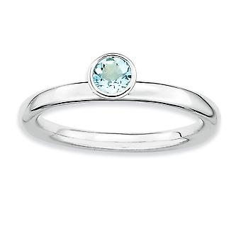 925 Sterling Silver Bezel Polished Rhodium plated Stackable Expressions High 4mm Round Aquamarine Ring Jewelry Gifts for