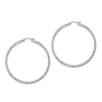 925 Sterling Silver Hinged post Sparkle Cut 2x55mm Square Tube Hoop Earrings Jewelry Gifts for Women