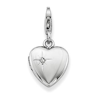 925 Sterling Silver Satin Back Holds 2 photos Lobster Claw Closure and Diamond Polished Lobster Clasp 12mm Love Heart Lo