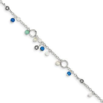 Antique finish Created Simulated Turquoise Bead Freshwater Cultured Pearl Anklet Bracelet 9 Inch Spring Ring Jewelry Gif