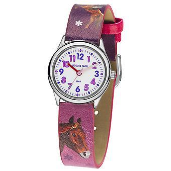 JACQUES FAREL børn Wristwatch analog kvarts pige imiteret læder HCC 543 hest