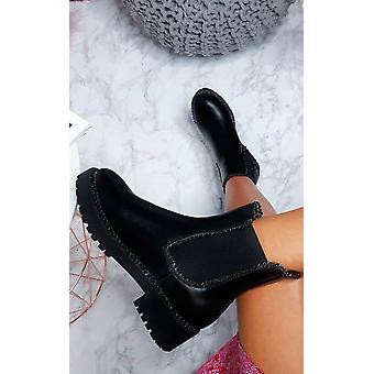 IKRUSH Womens Tarra Faux leder Chunky Boots