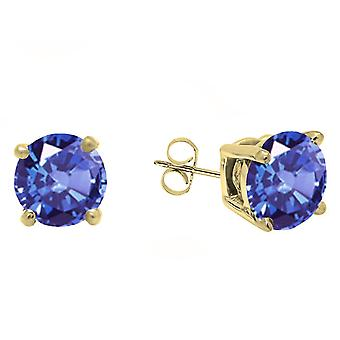 Dazzlingrock Collection 10K 5 MM Each Round Tanzanite Ladies Solitaire Stud Earrings, Yellow Gold