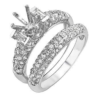 Dazzlingrock Sammlung 1,65 Karat (ctw) 14K Runde & Baguette Diamant Semi Mount Verlobungsring Set, Weißgold