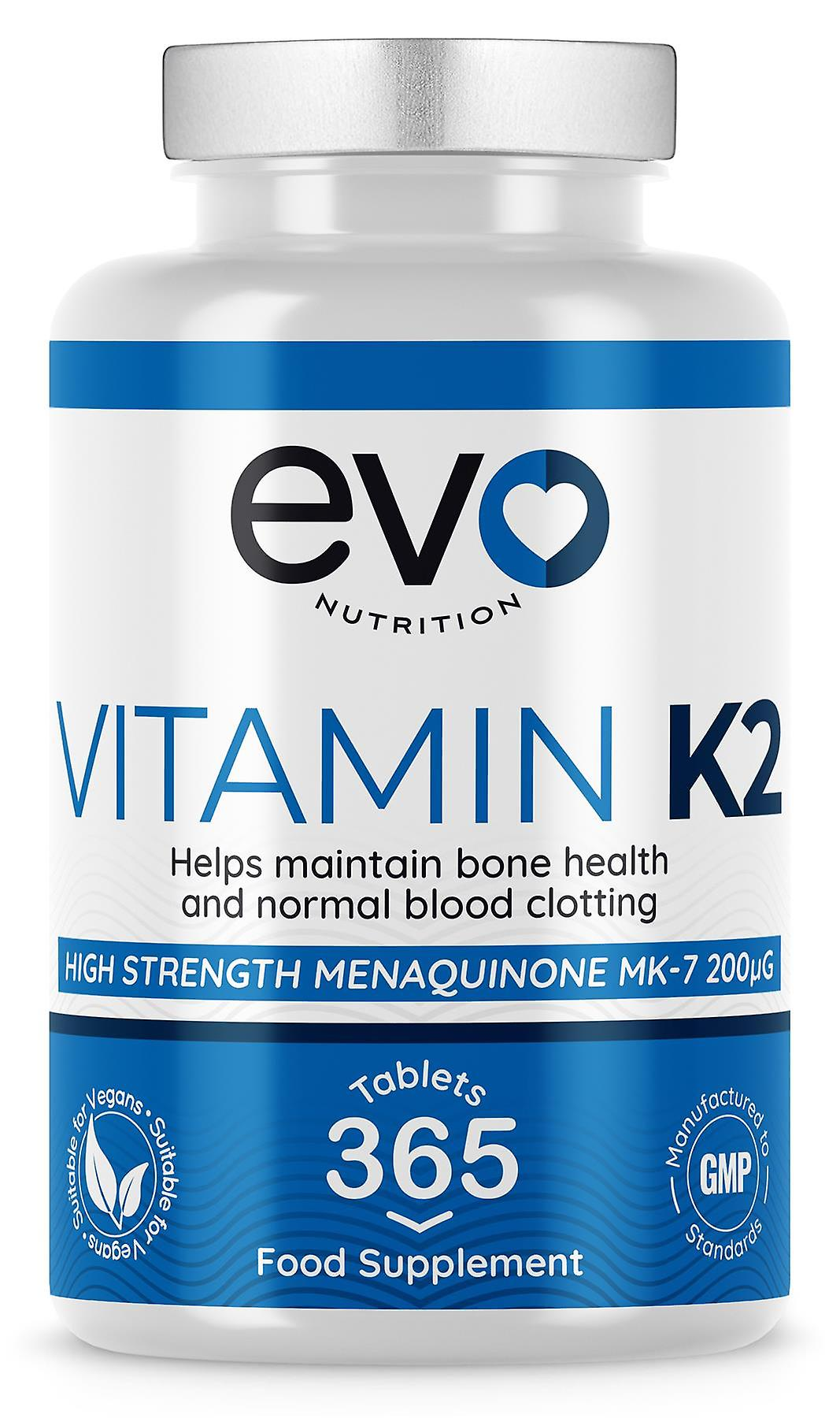 Vitamin K2 (365 Tablets) 200mcg - Evo Nutrition