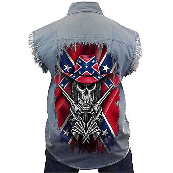 Men's Sleeveless Denim Konföderierten Rebellen Flagge Cowboy Skelett Biker Weste