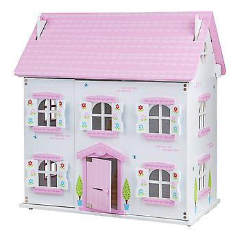 Bigjigs Toys Butterfly Cottage Large Wooden Unfurnished Doll House Toy for Kids
