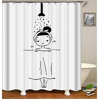 Showering Girl Black And White Drawing Shower Curtain