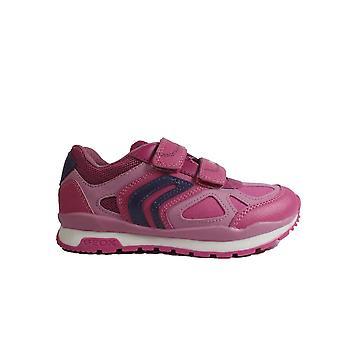 Geox Pavel J848CA Pink Girls Rip Tape Trainers