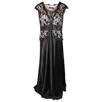 Ronald Joyce Black Sleeveless Lace Bodice Long Dress
