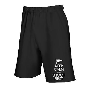 Black tracksuit shorts fun3900 keep calm and shoot first