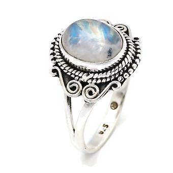 Moonstone Ring 925 Silver Sterling Silver Silver Women's Ring White (IRM 108-04)
