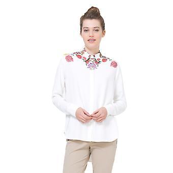 שרוול נשים ' s לבן שרוולים ארוכים פרחוני-חולצת כן