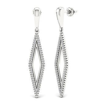 Boucles d'oreilles en diamant naturel dangled certifiés Igi s925 sterling 0,33 ct