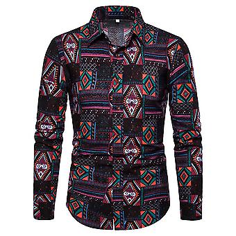 Allthemen Men's Casual Retro Lapel Patterned Ink Style Long-sleeve Shirt Top
