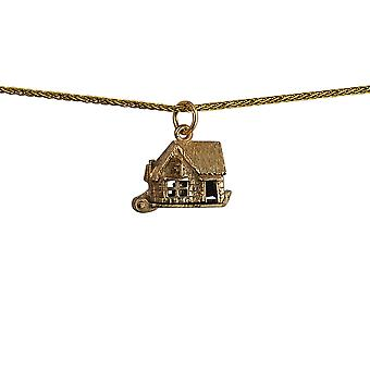 9ct Gold 10x13mm moveable Pub Pendant with a 1.1mm wide spiga Chain 24 inches