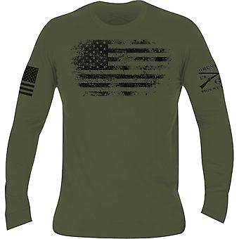 Grunt Style Vintage American Long Sleeve T-Shirt - Military Green