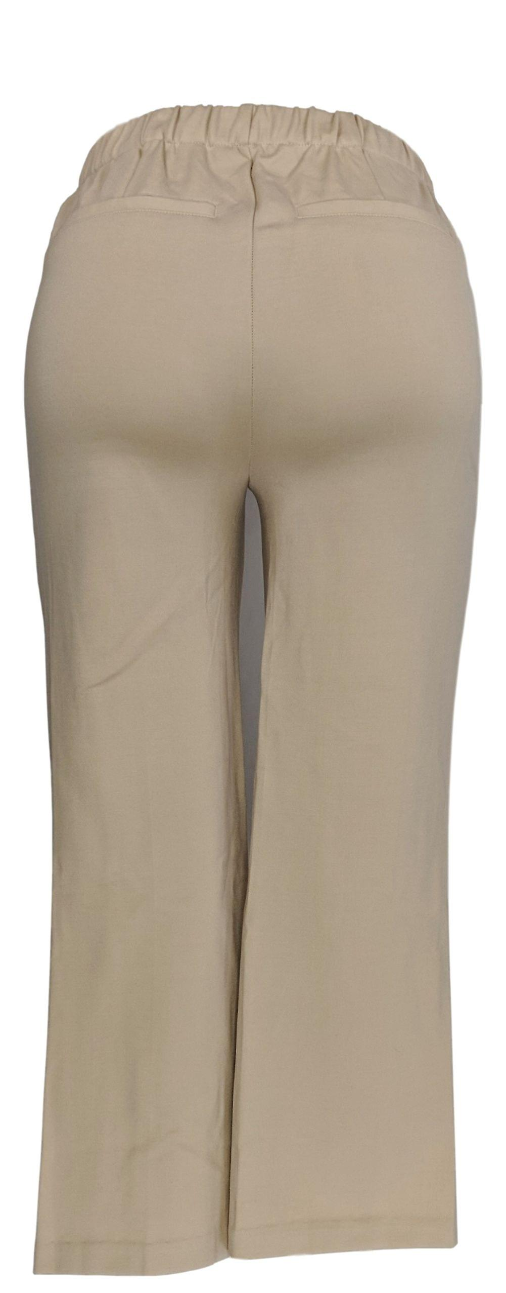 H by Halston Women's Pants Ponte Knit Wide Leg Pull-On Crop Beige A272372 uUg3iZ