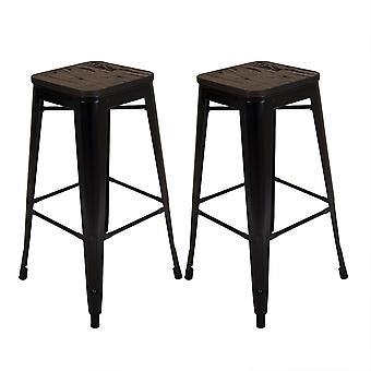 Charles Bentley Paar van 2 Steel Metal Industrial Wood Top Stapelbare Keuken Ontbijt Barkrukken 75cm- Zwart