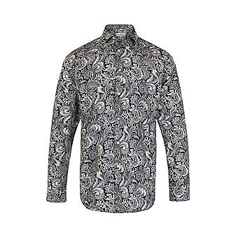 JSS Paisley Black & White Regular Fit 100% Cotton Shirt