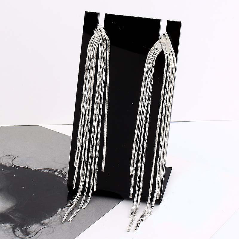 Silver Long Chains Drop Earrings