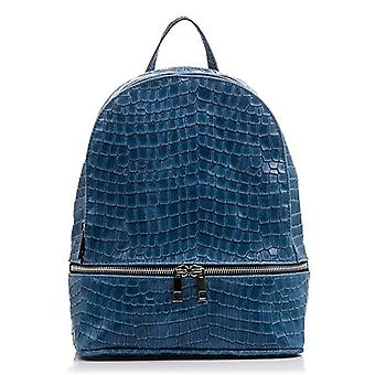 FIRENZE ARTEGIANI Women's backpack casual real skin. Backpack DAYPACK genuine leather engraved lacquered crocodile. Women's backpack Made in ITALY. REAL ITALIAN PELLE 25x305x12 cm. Color: BLU