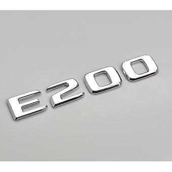 Silver Chrome E200 Flat Mercedes Benz Car Model Rear Boot Number Letter Sticker Decal Badge Emblem For E Class W210 W211 W212 C207/A207 W213 AMG