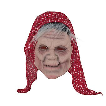 Old Lady Mask W/Head Scarf