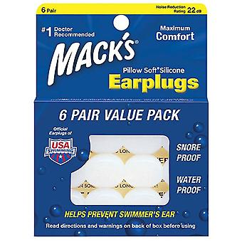 Mack's pillow soft silicone earplugs, clear, value pack, 6 pairs