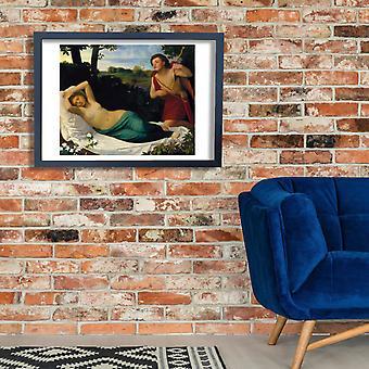 Alphonse Legros - Cupido y psique cartel impresión Giclee