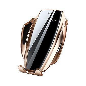 Bakeey gehard glas 10w qi draadloze oplader slimme sensor luchtvent auto telefoonhouder voor 4,0-6,5 inch smartphone
