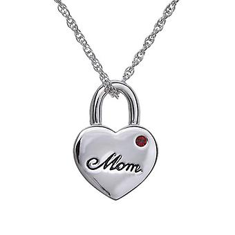 Annaleece Silvertone Mom Heart Pendant Made With Swarovski Crystals