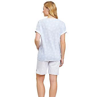 Rösch 1203040-16402 Women's Smart Casual Blue Mono Flowers Floral Pyjama Set