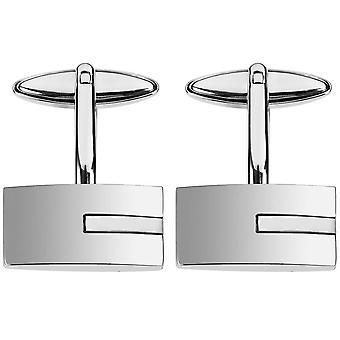 Orton West Rhodium Plated Mother of Pearl Insert Cufflinks - Silver/White