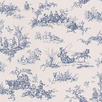 Lazy Sunday Toile de Jouy design tapet grädde och blå Rasch 451801