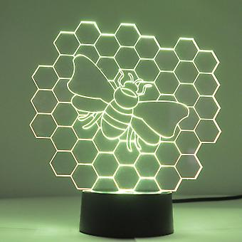 Honeycomb Bee color Changing LED Mini acrílico Light