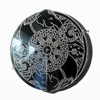 Mandala elefante círculo grabado espejo acrílico