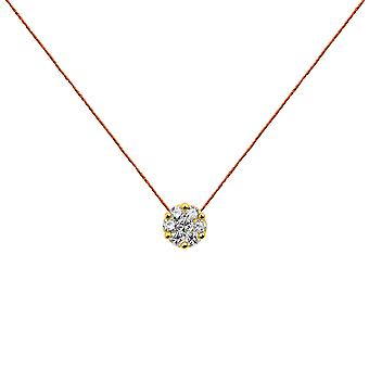 Choker Flower Cluster 18K Gold and Diamonds, on Thread - Yellow Gold, Orange